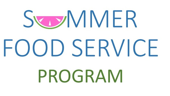 Summer food service program logo - a fun picture of a watermelon slice as the U in Summer
